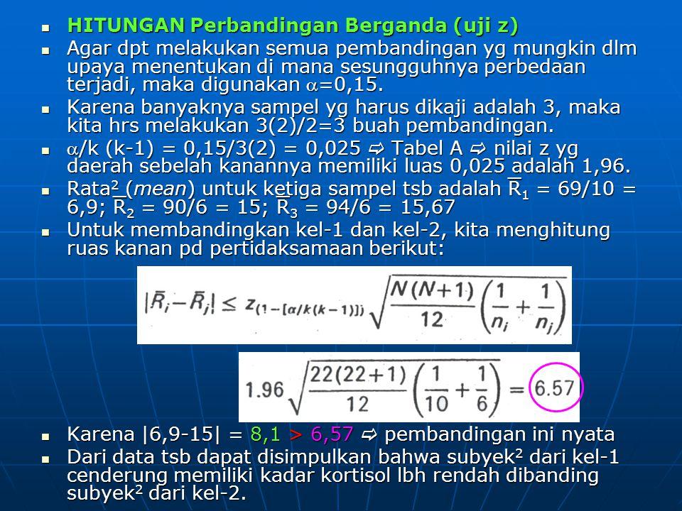 HITUNGAN Perbandingan Berganda (uji z) HITUNGAN Perbandingan Berganda (uji z) Agar dpt melakukan semua pembandingan yg mungkin dlm upaya menentukan di