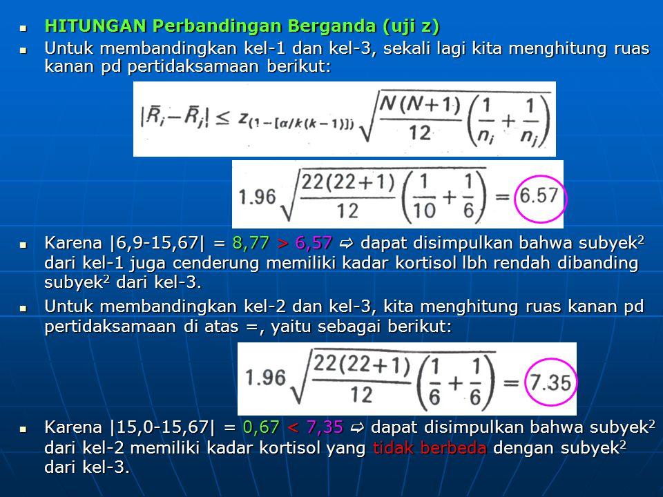 HITUNGAN Perbandingan Berganda (uji z) HITUNGAN Perbandingan Berganda (uji z) Untuk membandingkan kel-1 dan kel-3, sekali lagi kita menghitung ruas ka