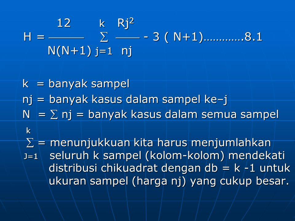 12 k Rj 2 12 k Rj 2 H =    - 3 ( N+1)………….8.1 H =    - 3 ( N+1)………….8.1 N(N+1) j=1 nj N(N+1) j=1 nj k = banyak sampel nj = banyak kasus dalam sampel ke–j N =  nj = banyak kasus dalam semua sampel k  = menunjukkuan kita harus menjumlahkan seluruh k sampel (kolom-kolom)  = menunjukkuan kita harus menjumlahkan seluruh k sampel (kolom-kolom) j=1 mendekati distribusi chikuadrat dengan db = k -1 untuk ukuran sampel (harga j=1 mendekati distribusi chikuadrat dengan db = k -1 untuk ukuran sampel (harga nj) yang cukup besar.
