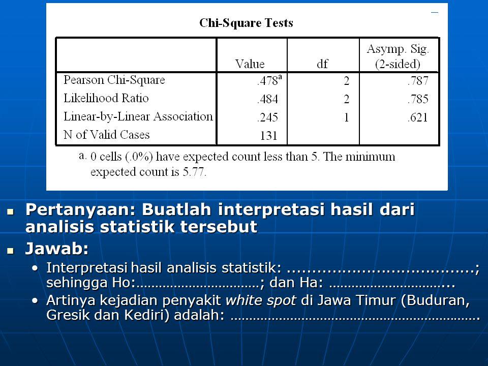 Pertanyaan: Buatlah interpretasi hasil dari analisis statistik tersebut Pertanyaan: Buatlah interpretasi hasil dari analisis statistik tersebut Jawab: