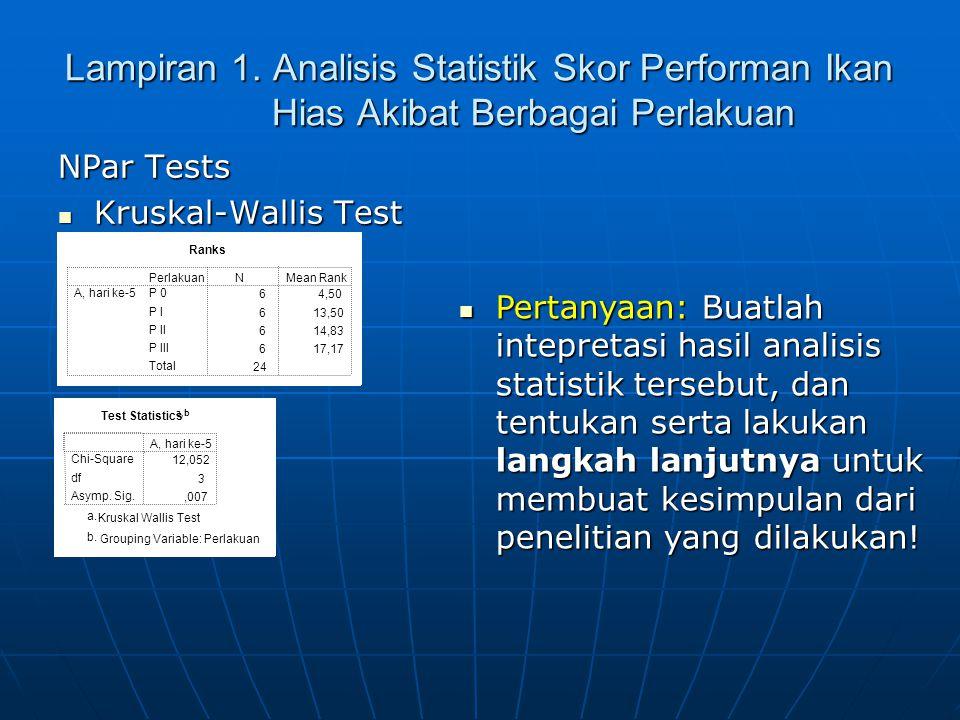 Lampiran 1. Analisis Statistik Skor Performan Ikan Hias Akibat Berbagai Perlakuan NPar Tests Kruskal-Wallis Test Kruskal-Wallis Test Ranks 64,50 613,5