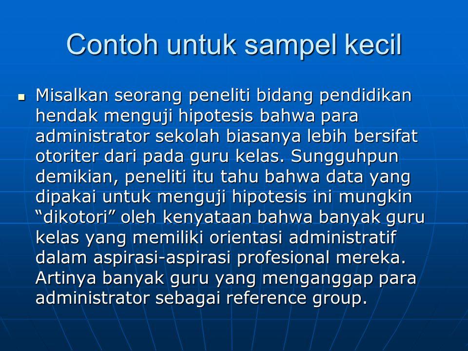 Contoh untuk sampel kecil (lanjutan) Untuk menghindari pengotoran itu dia merencanakan untuk membagi 14 subyeknya ke dalam tiga kelompok.