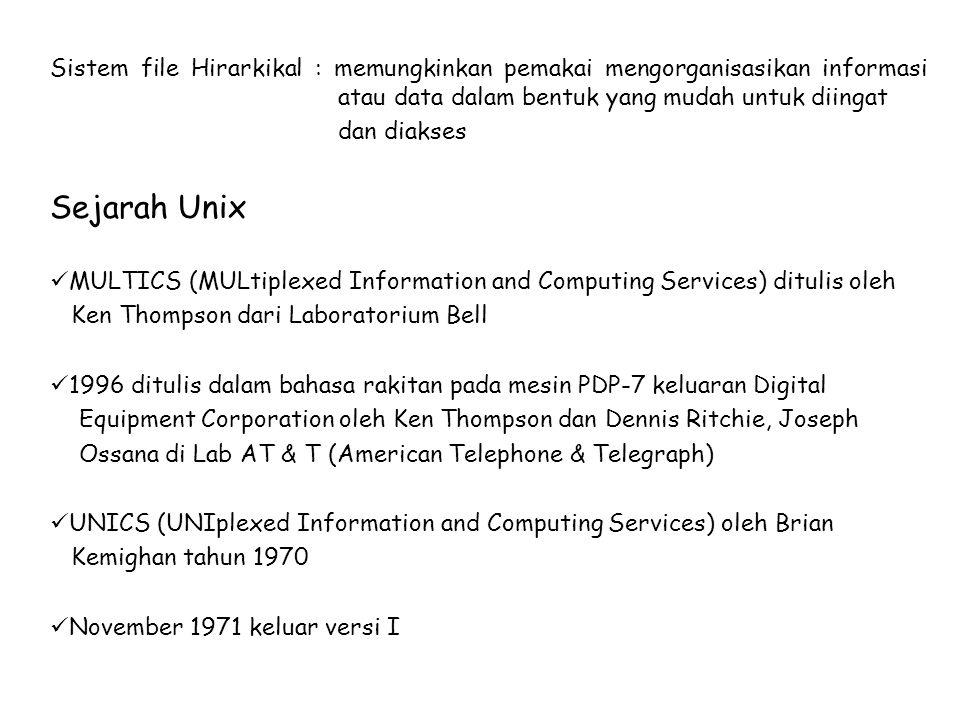 Sistem file Hirarkikal : memungkinkan pemakai mengorganisasikan informasi atau data dalam bentuk yang mudah untuk diingat dan diakses Sejarah Unix MUL