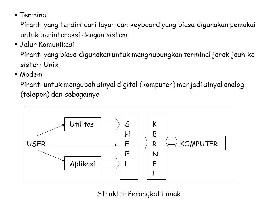 Kernel: inti dari sistem Unix yang mengontrol perangkat keras dan melaksanakan berbagai tugas, antara lain : - Pelayanan tanggal dan jam sistem - Manajemen file dan penanganan sekuriti - Pelayanan operasi output dan input - Manajemen dan penjadwalan proses - Manajemen memori - Melakukan kegiatan akuntansi sistem - Melakukan penanganan kesalahan dan interupsi Shell: penterjemah pada sistem Unix yang merupakan jembatan antara pemakai dan sistem Unix