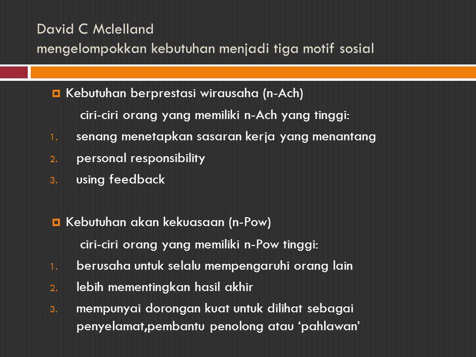 David C Mclelland mengelompokkan kebutuhan menjadi tiga motif sosial  Kebutuhan berprestasi wirausaha (n-Ach) ciri-ciri orang yang memiliki n-Ach yan