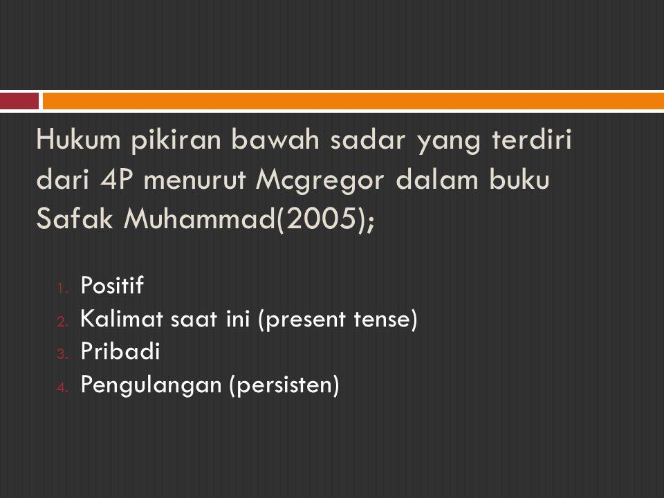 Hukum pikiran bawah sadar yang terdiri dari 4P menurut Mcgregor dalam buku Safak Muhammad(2005); 1. Positif 2. Kalimat saat ini (present tense) 3. Pri