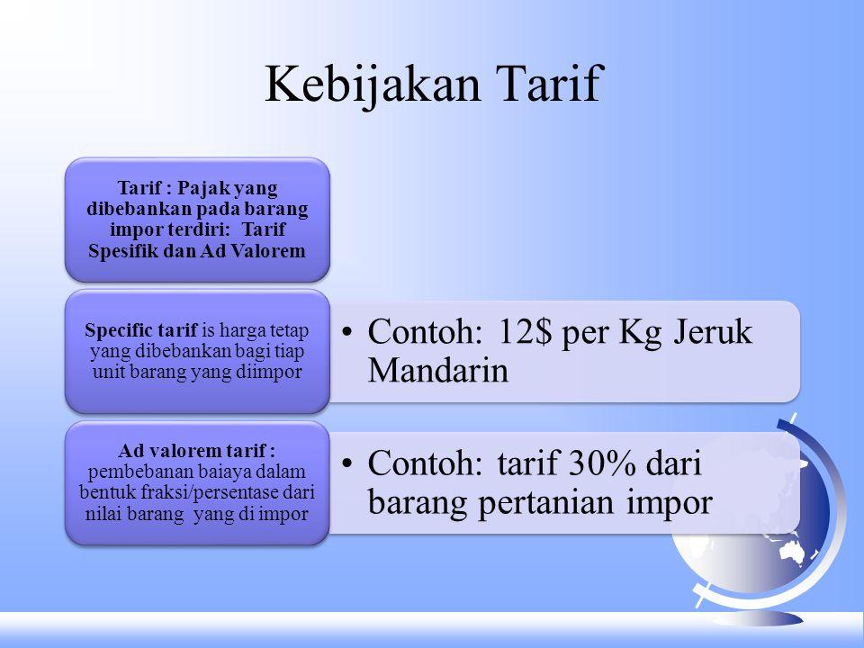 Efek dari tarif F Tarif dilihat sebagai tambahan biaya transportasi F Terjadi kelebihan permintaan dan penawaran ketika penjual tidak mau menjual barangnnya akibat tarif.