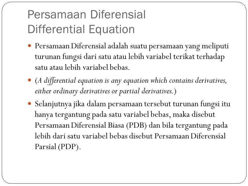 Persamaan Diferensial Differential Equation Persamaan Diferensial adalah suatu persamaan yang meliputi turunan fungsi dari satu atau lebih variabel te
