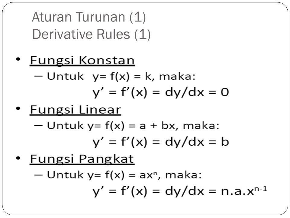 Aturan Turunan (1) Derivative Rules (1)