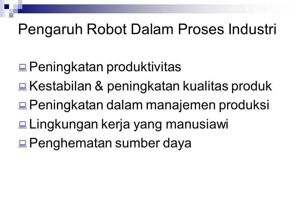 Pengaruh Robot Dalam Proses Industri  Peningkatan produktivitas  Kestabilan & peningkatan kualitas produk  Peningkatan dalam manajemen produksi  L