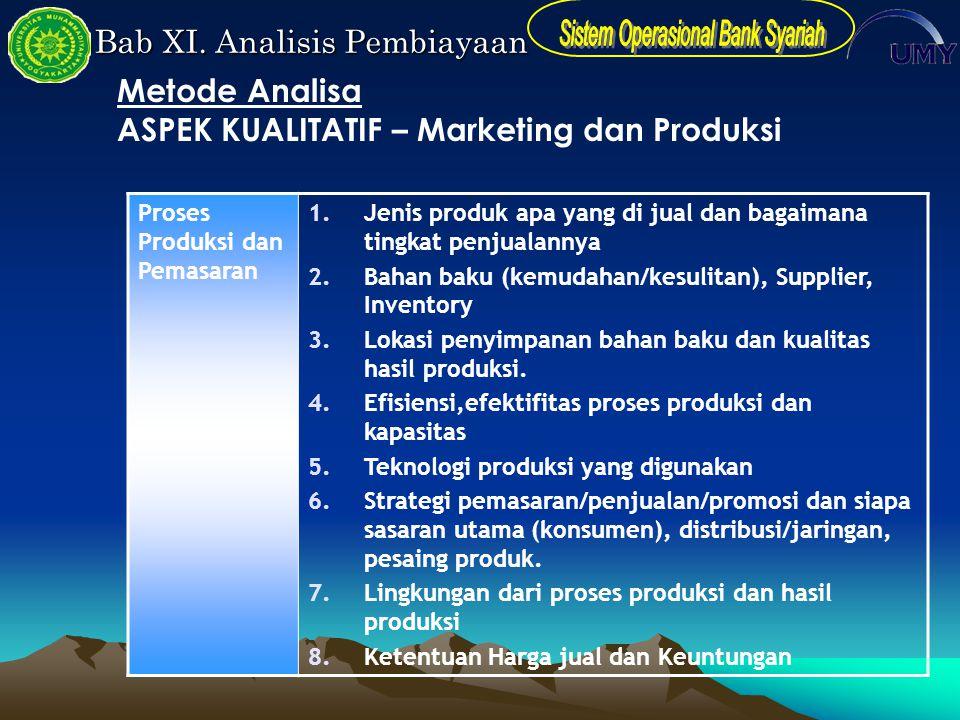 Bab XI. Analisis Pembiayaan Proses Produksi dan Pemasaran 1.Jenis produk apa yang di jual dan bagaimana tingkat penjualannya 2.Bahan baku (kemudahan/k