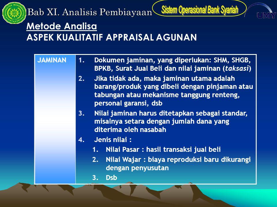 Bab XI. Analisis Pembiayaan JAMINAN1.Dokumen jaminan, yang diperlukan: SHM, SHGB, BPKB, Surat Jual Beli dan nilai jaminan (taksasi) 2.Jika tidak ada,