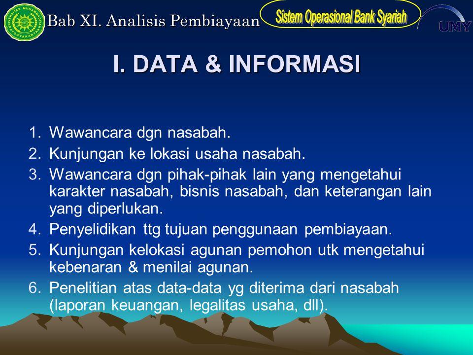 Bab XI. Analisis Pembiayaan I. DATA & INFORMASI 1.Wawancara dgn nasabah. 2.Kunjungan ke lokasi usaha nasabah. 3.Wawancara dgn pihak-pihak lain yang me