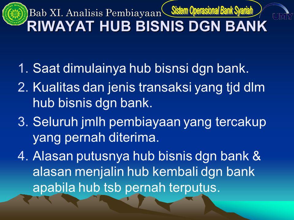 Bab XI. Analisis Pembiayaan RIWAYAT HUB BISNIS DGN BANK 1.Saat dimulainya hub bisnsi dgn bank. 2.Kualitas dan jenis transaksi yang tjd dlm hub bisnis