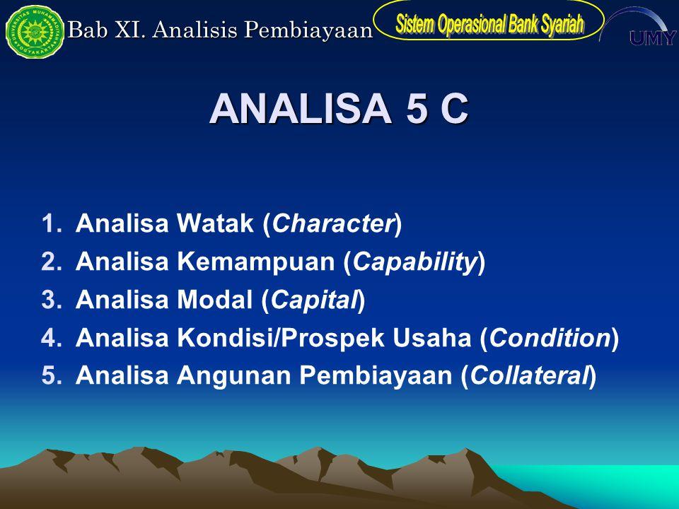 Bab XI. Analisis Pembiayaan ANALISA 5 C 1.Analisa Watak (Character) 2.Analisa Kemampuan (Capability) 3.Analisa Modal (Capital) 4.Analisa Kondisi/Prosp