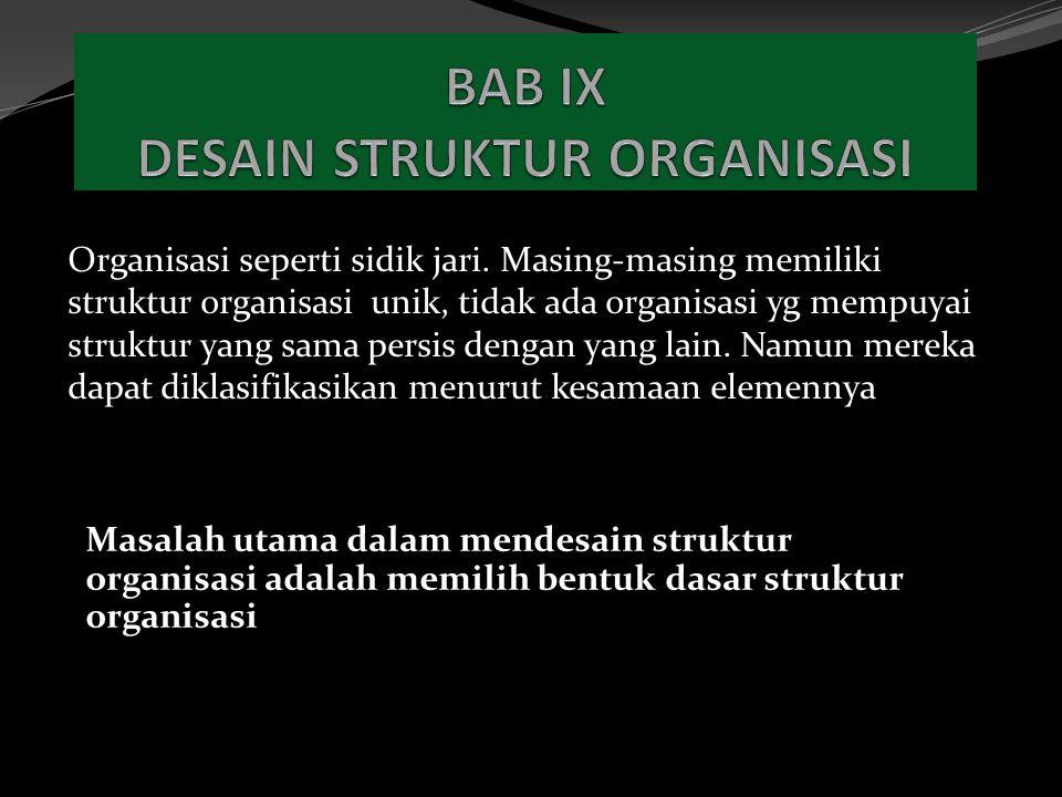Organisasi seperti sidik jari. Masing-masing memiliki struktur organisasi unik, tidak ada organisasi yg mempuyai struktur yang sama persis dengan yang