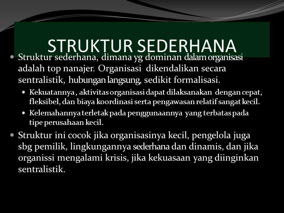 STRUKTUR SEDERHANA Struktur sederhana, dimana yg dominan dalam organisasi adalah top nanajer. Organisasi dikendalikan secara sentralistik, hubungan la