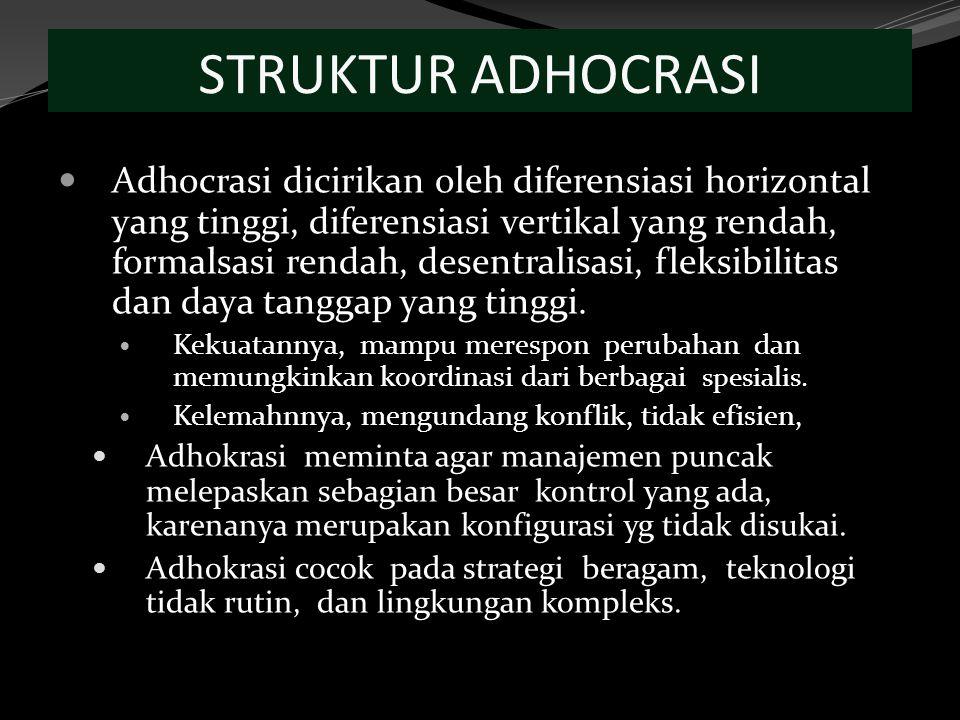 STRUKTUR ADHOCRASI Adhocrasi dicirikan oleh diferensiasi horizontal yang tinggi, diferensiasi vertikal yang rendah, formalsasi rendah, desentralisasi, fleksibilitas dan daya tanggap yang tinggi.