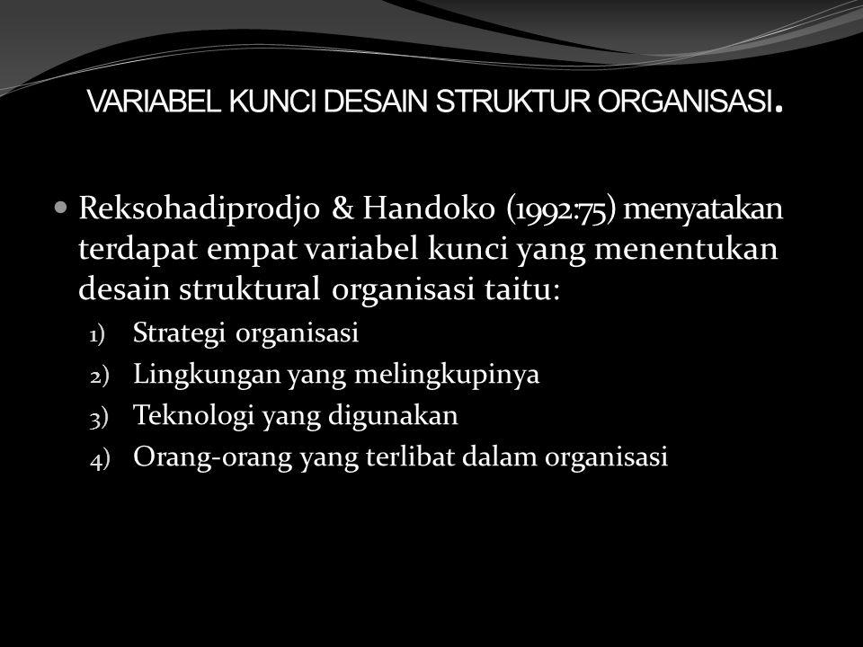VARIABEL KUNCI DESAIN STRUKTUR ORGANISASI. Reksohadiprodjo & Handoko (1992:75) menyatakan terdapat empat variabel kunci yang menentukan desain struktu