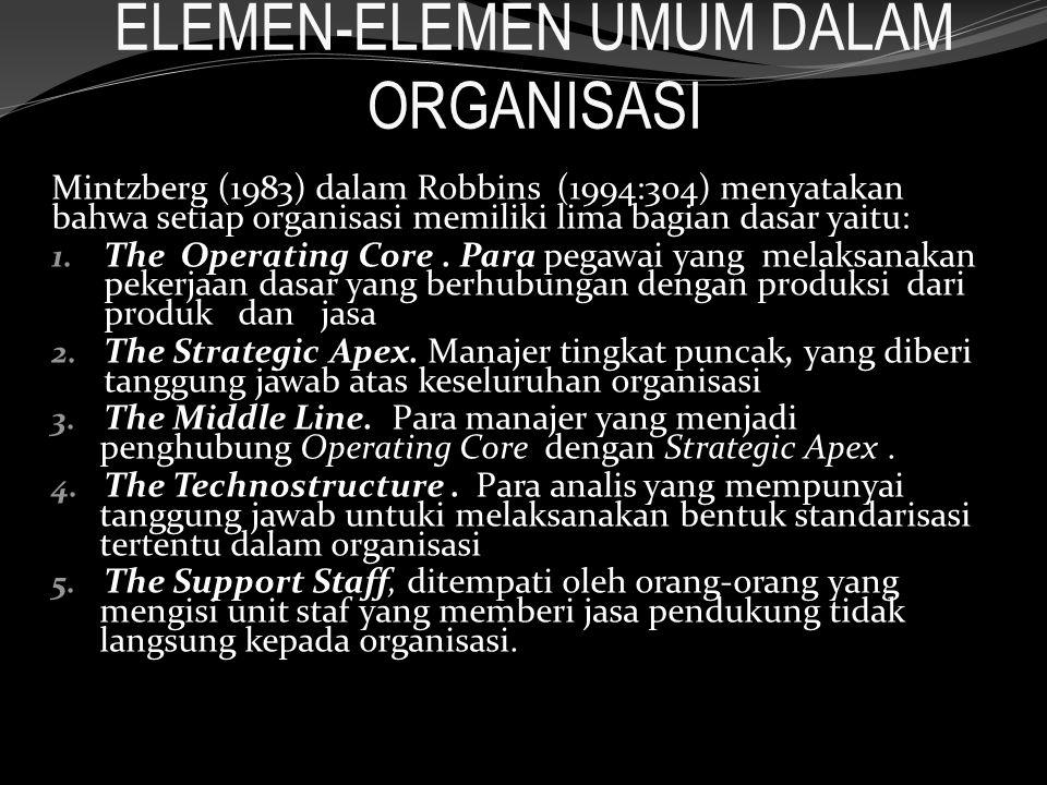 ELEMEN-ELEMEN UMUM DALAM ORGANISASI Mintzberg (1983) dalam Robbins (1994:304) menyatakan bahwa setiap organisasi memiliki lima bagian dasar yaitu: 1.