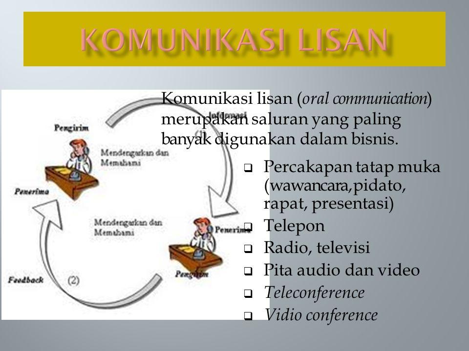  Komunikasi lisan cocok digunakan apabila:  Diperlukan umpan balik secara langsung dari penerima  Pesan relatif sederhana  Tidak memerlukan catatan sebagai dokumen  Audiens dapat dikumpulkan dengan mudah dan ekonomis  Ingin mendorong interaksi untuk pemecahan masalah dan pengambilan keputusan