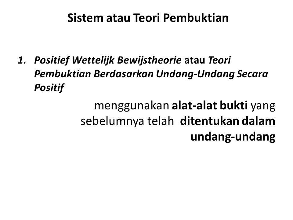 Sistem atau Teori Pembuktian 1.Positief Wettelijk Bewijstheorie atau Teori Pembuktian Berdasarkan Undang-Undang Secara Positif menggunakan alat-alat b