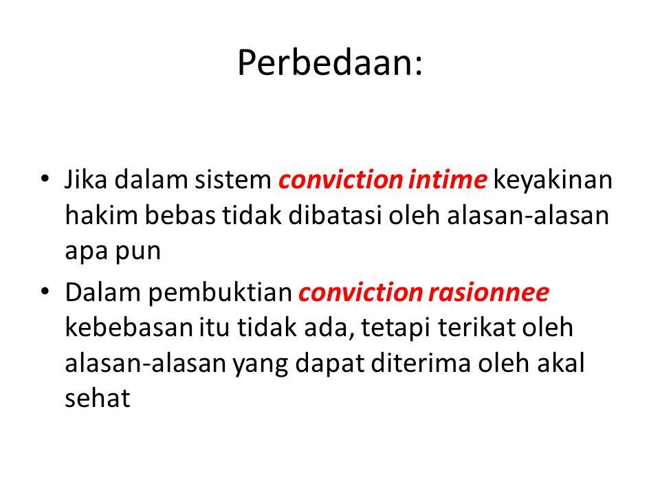 Perbedaan: Jika dalam sistem conviction intime keyakinan hakim bebas tidak dibatasi oleh alasan-alasan apa pun Dalam pembuktian conviction rasionnee k