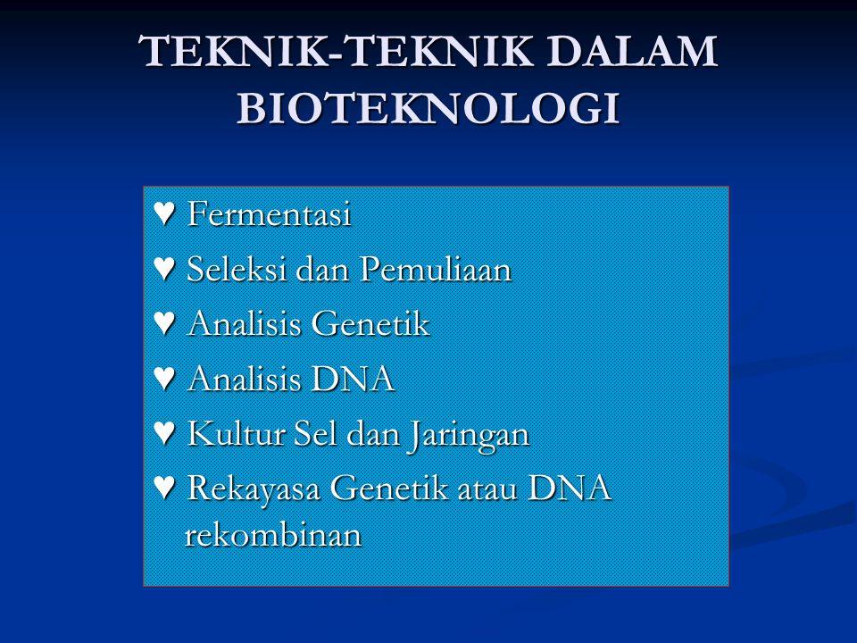 TEKNIK-TEKNIK DALAM BIOTEKNOLOGI ♥ Fermentasi ♥ Seleksi dan Pemuliaan ♥ Analisis Genetik ♥ Analisis DNA ♥ Kultur Sel dan Jaringan ♥ Rekayasa Genetik a