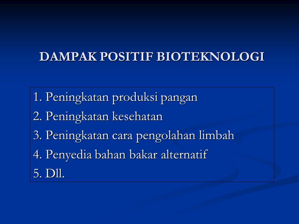DAMPAK POSITIF BIOTEKNOLOGI 1. Peningkatan produksi pangan 2. Peningkatan kesehatan 3. Peningkatan cara pengolahan limbah 4. Penyedia bahan bakar alte