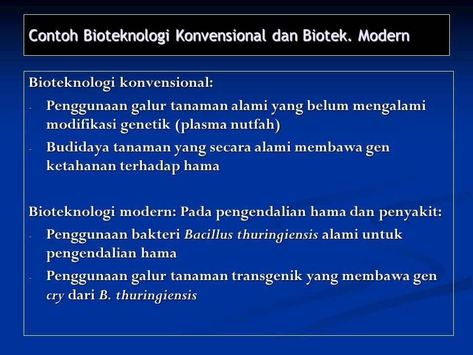 Contoh Bioteknologi Konvensional dan Biotek. Modern Bioteknologi konvensional: - Penggunaan galur tanaman alami yang belum mengalami modifikasi geneti