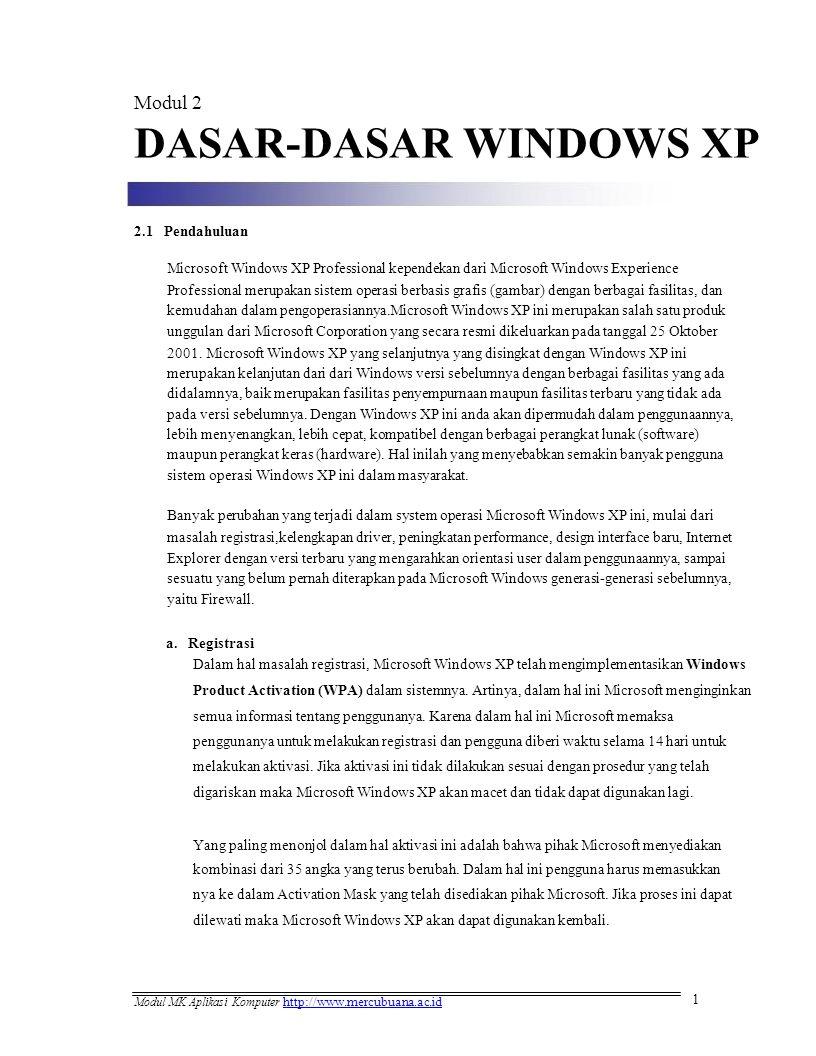 Modul 2 DASAR-DASAR WINDOWS XP 2.1 Pendahuluan Microsoft Windows XP Professional kependekan dari Microsoft Windows Experience Professional merupakan s