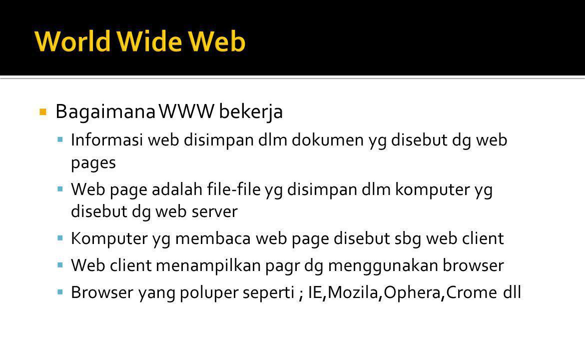  Browser Web  Adalah software yg digunakan utk menampilkan informasi dari server web.
