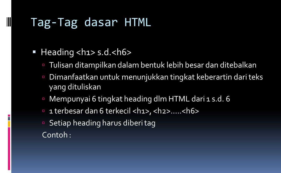 Tag-Tag dasar HTML  Heading s.d.  Tulisan ditampilkan dalam bentuk lebih besar dan ditebalkan  Dimanfaatkan untuk menunjukkan tingkat keberartin da