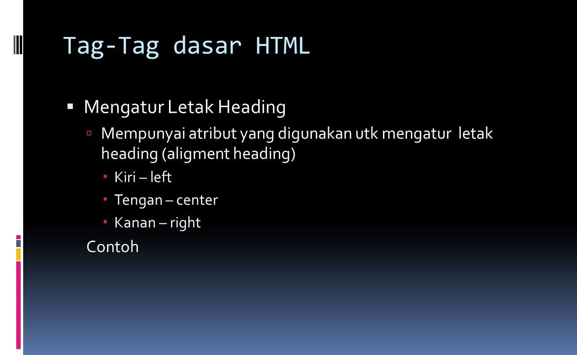Tag-Tag dasar HTML  Mengatur Letak Heading  Mempunyai atribut yang digunakan utk mengatur letak heading (aligment heading)  Kiri – left  Tengan – center  Kanan – right Contoh
