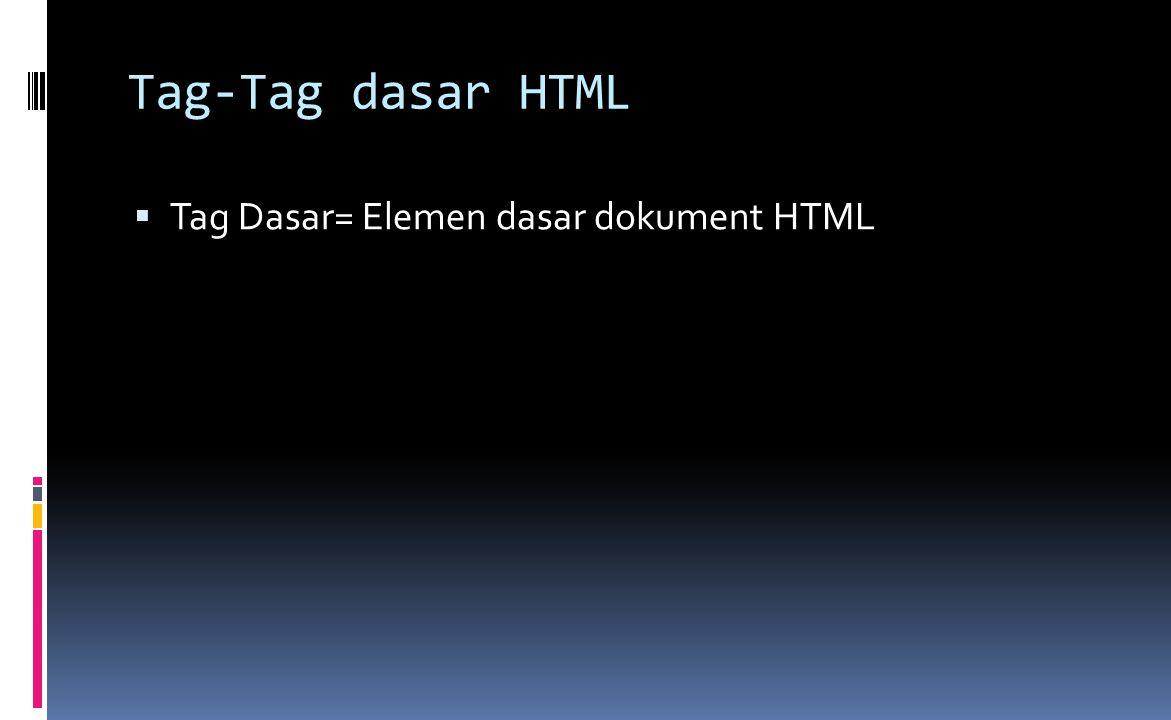 Tag-Tag dasar HTML  Tag Dasar= Elemen dasar dokument HTML