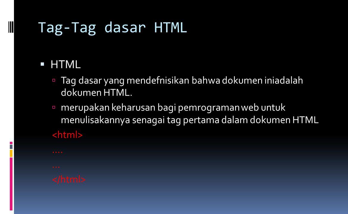 Tag-Tag dasar HTML  HTML  Tag dasar yang mendefnisikan bahwa dokumen iniadalah dokumen HTML.  merupakan keharusan bagi pemrograman web untuk menuli