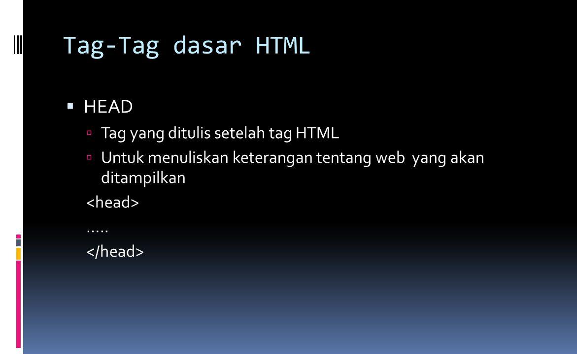 Tag-Tag dasar HTML  HEAD  Tag yang ditulis setelah tag HTML  Untuk menuliskan keterangan tentang web yang akan ditampilkan …..