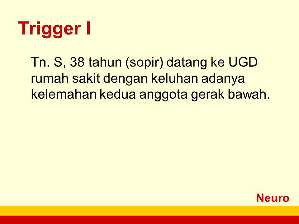 Neuro Trigger I Tn. S, 38 tahun (sopir) datang ke UGD rumah sakit dengan keluhan adanya kelemahan kedua anggota gerak bawah.