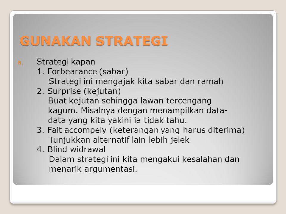 GUNAKAN STRATEGI a. Strategi kapan 1. Forbearance (sabar) Strategi ini mengajak kita sabar dan ramah 2. Surprise (kejutan) Buat kejutan sehingga lawan