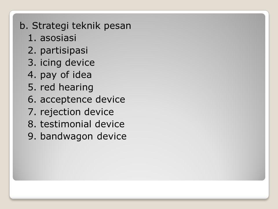 c.Strategi lain a. kalau anda punya beberapa alternatif b.