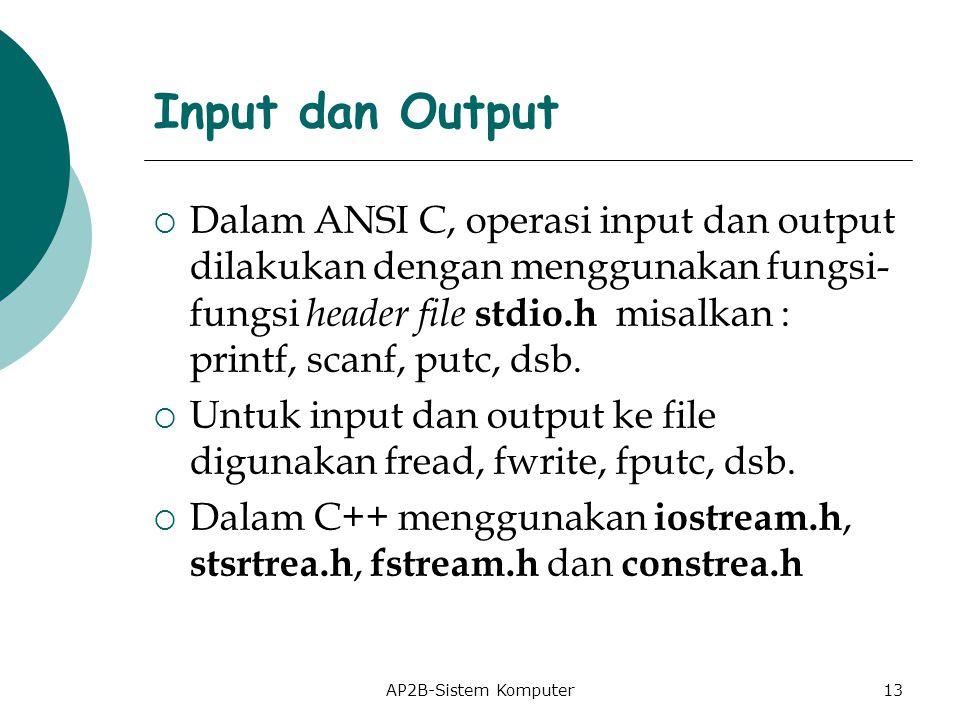 AP2B-Sistem Komputer Input dan Output  Dalam ANSI C, operasi input dan output dilakukan dengan menggunakan fungsi- fungsi header file stdio.h misalkan : printf, scanf, putc, dsb.