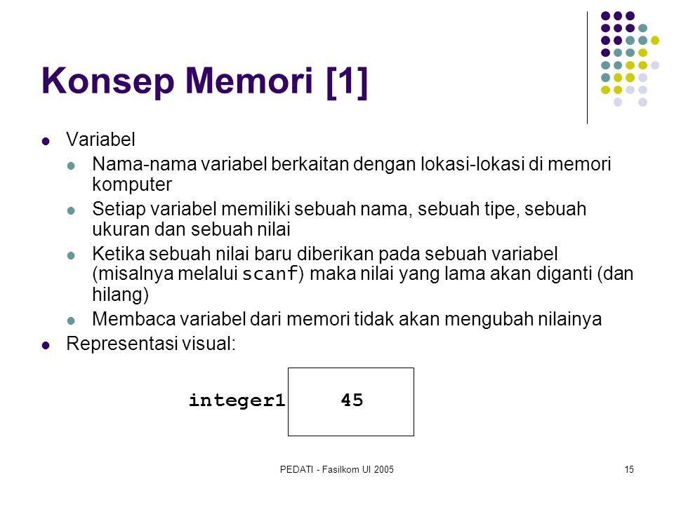 PEDATI - Fasilkom UI 200515 Konsep Memori [1] Variabel Nama-nama variabel berkaitan dengan lokasi-lokasi di memori komputer Setiap variabel memiliki sebuah nama, sebuah tipe, sebuah ukuran dan sebuah nilai Ketika sebuah nilai baru diberikan pada sebuah variabel (misalnya melalui scanf ) maka nilai yang lama akan diganti (dan hilang) Membaca variabel dari memori tidak akan mengubah nilainya Representasi visual: integer1 45