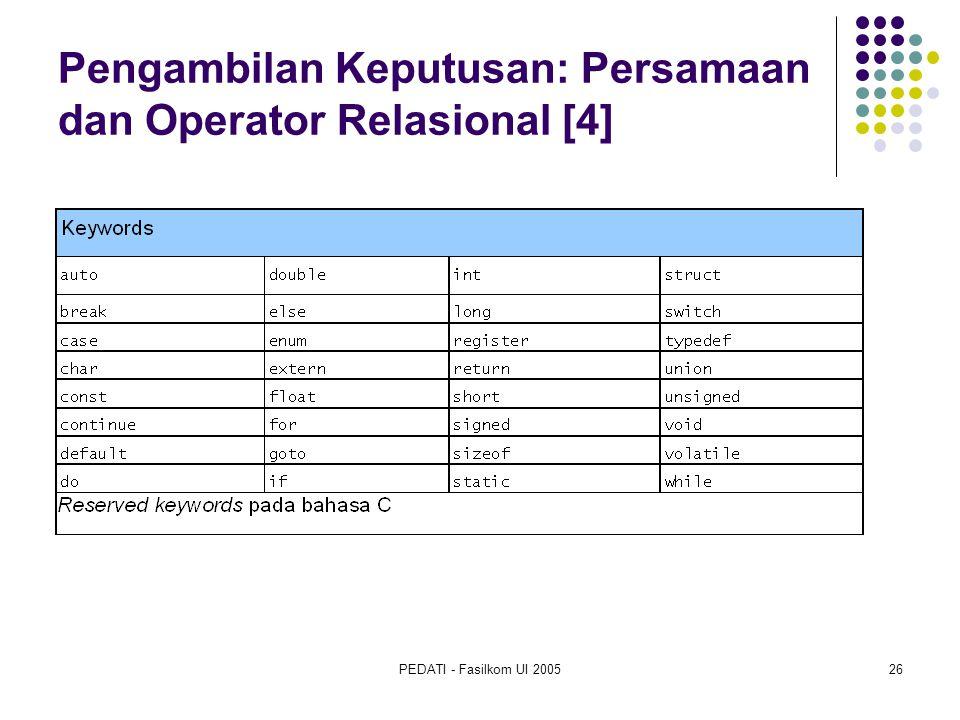 PEDATI - Fasilkom UI 200526 Pengambilan Keputusan: Persamaan dan Operator Relasional [4]