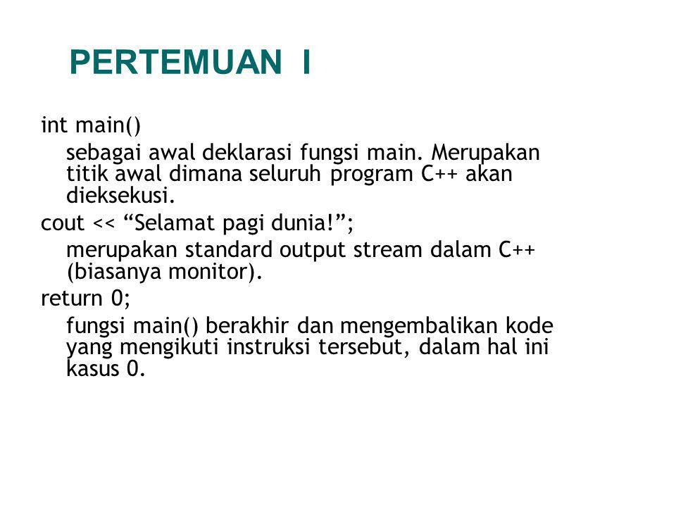 int main() sebagai awal deklarasi fungsi main.