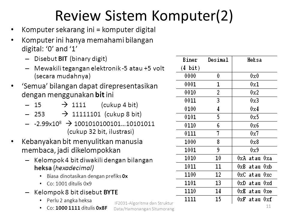 Review Sistem Komputer(2) IF2031-Algoritma dan Struktur Data/Hamonangan Situmorang 11 Komputer sekarang ini = komputer digital Komputer ini hanya mema