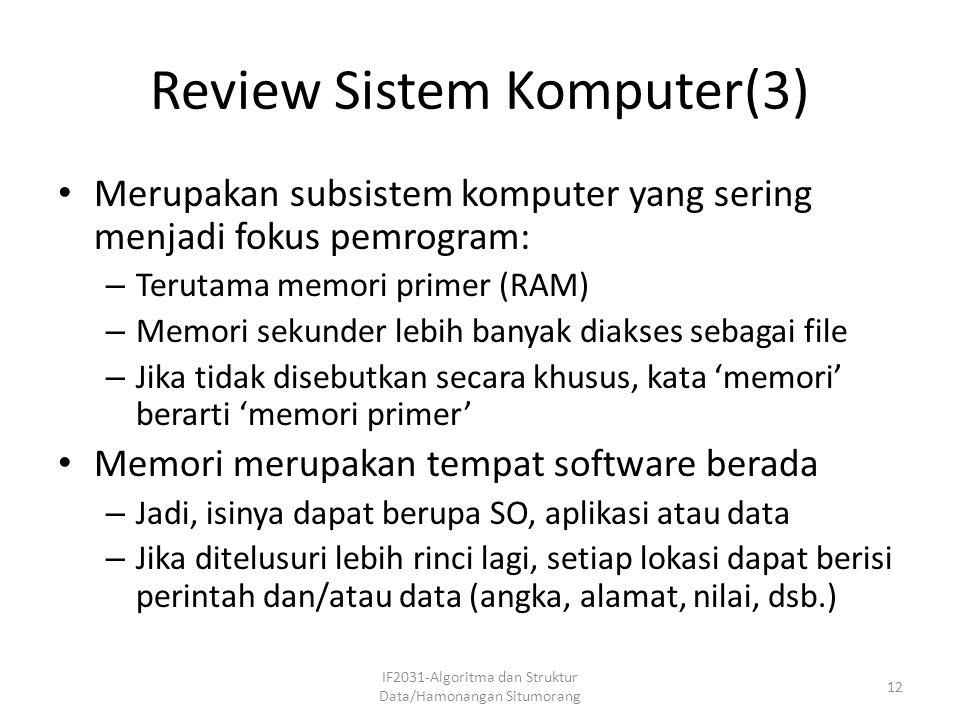 Review Sistem Komputer(3) Merupakan subsistem komputer yang sering menjadi fokus pemrogram: – Terutama memori primer (RAM) – Memori sekunder lebih ban