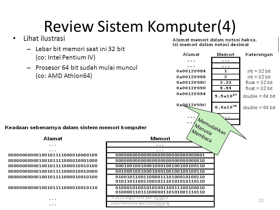 Review Sistem Komputer(4) IF2031-Algoritma dan Struktur Data/Hamonangan Situmorang 13 Lihat ilustrasi – Lebar bit memori saat ini 32 bit (co: Intel Pe