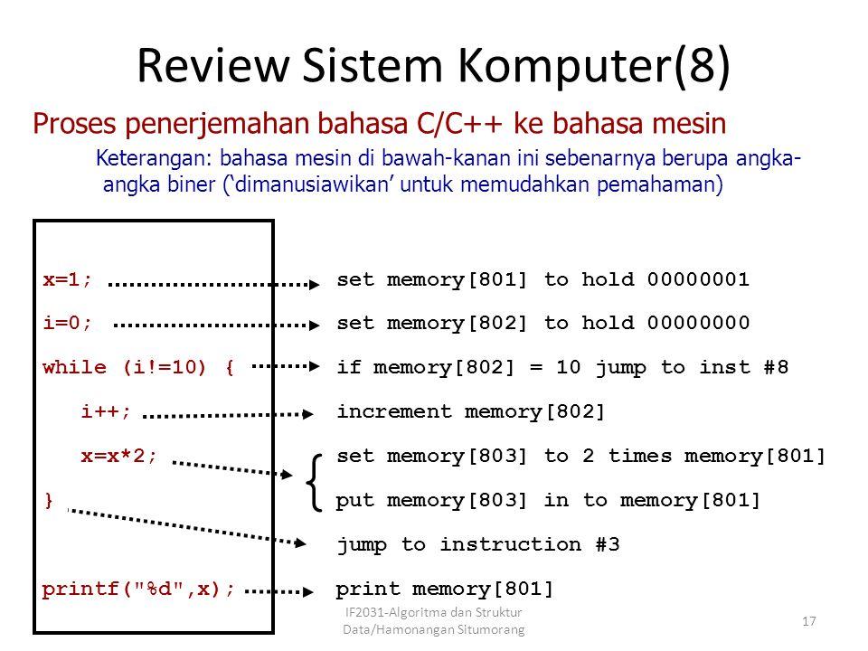 Review Sistem Komputer(8) IF2031-Algoritma dan Struktur Data/Hamonangan Situmorang 17 set memory[801] to hold 00000001 set memory[802] to hold 0000000