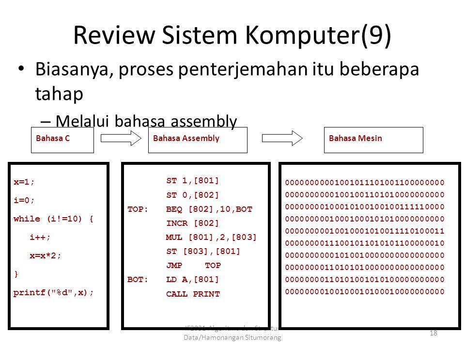 Review Sistem Komputer(9) IF2031-Algoritma dan Struktur Data/Hamonangan Situmorang 18 Biasanya, proses penterjemahan itu beberapa tahap – Melalui baha