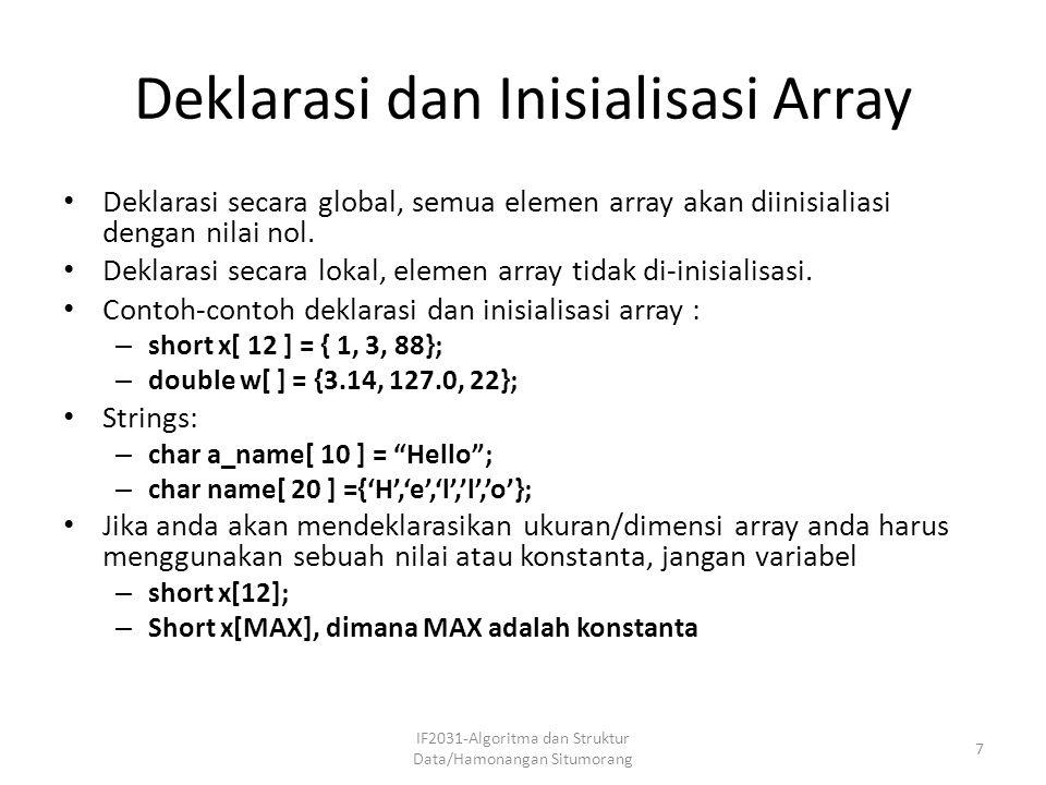 Deklarasi dan Inisialisasi Array Deklarasi secara global, semua elemen array akan diinisialiasi dengan nilai nol. Deklarasi secara lokal, elemen array